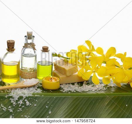 Spa set on banana leaf with massage oil