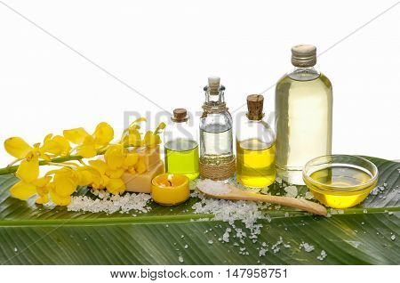 Spa set on banana leaf with branch orchid