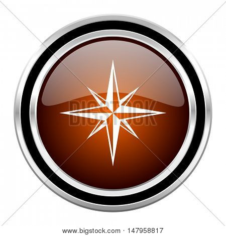 compass round circle glossy metallic chrome web icon isolated on white background