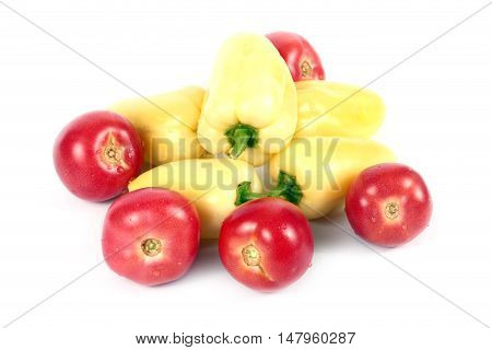 ripe fresh fruits peppers and tomatoes as part of a healthy food
