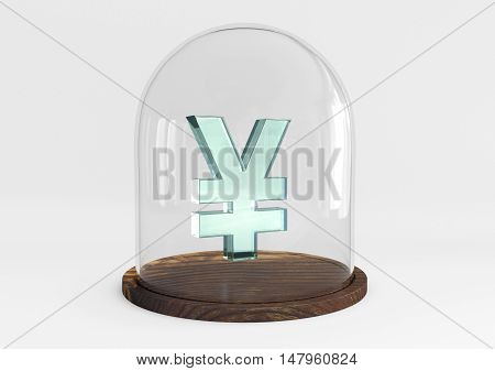 3D rendering yen sign crystal protected under a glass dome isolated on white background