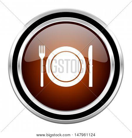 restaurant round circle glossy metallic chrome web icon isolated on white background