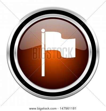 flag round circle glossy metallic chrome web icon isolated on white background