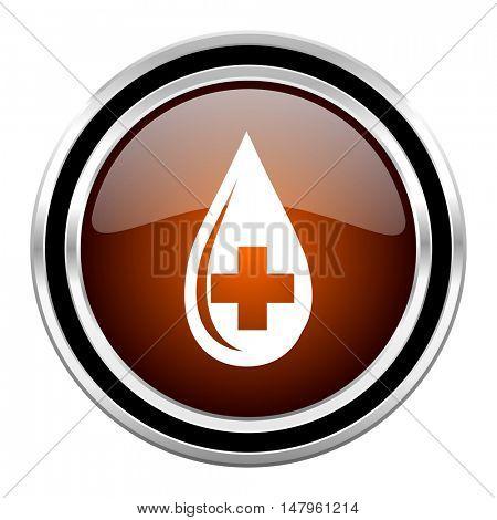 blood round circle glossy metallic chrome web icon isolated on white background