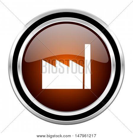 factory round circle glossy metallic chrome web icon isolated on white background