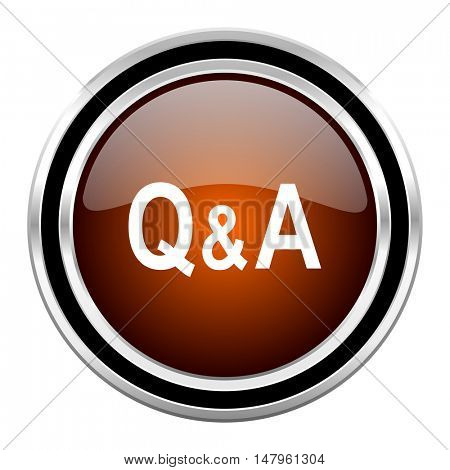 question answer round circle glossy metallic chrome web icon isolated on white background