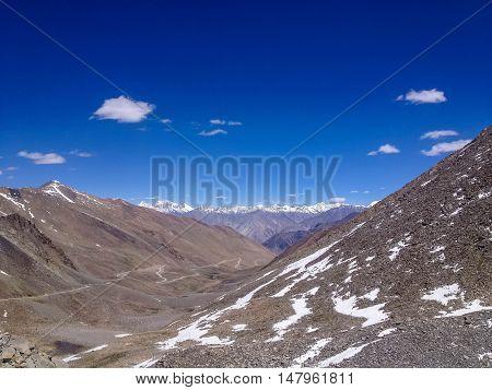 Khardungla top highest motorable road in the world 18380 feet Leh Ladakh Jammu and Kashmir India