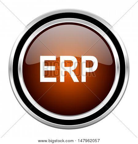 erp round circle glossy metallic chrome web icon isolated on white background