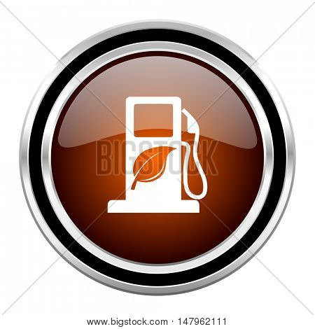 biofuel round circle glossy metallic chrome web icon isolated on white background