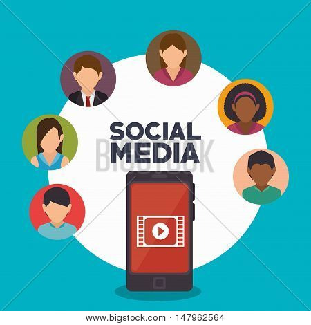 avatar smartphone social media isolated icon design, vector illustration graphic