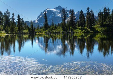 Scenic view of the Picture lake and mount Shuksan, Washington, USA