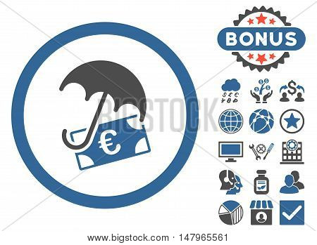 Euro Financial Umbrella icon with bonus pictogram. Vector illustration style is flat iconic bicolor symbols, cobalt and gray colors, white background.