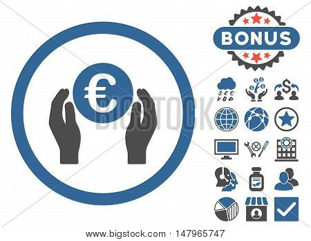 Euro Insurance Hands icon with bonus design elements. Vector illustration style is flat iconic bicolor symbols, cobalt and gray colors, white background.