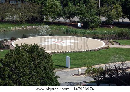 JOLIET, ILLINOIS / UNITED STATES - SEPTEMBER 4, 2016: A helicopter landing pad is available outside of the Presence Saint Joseph Medical Center in Joliet.