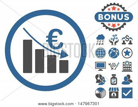 Euro Recession icon with bonus images. Vector illustration style is flat iconic bicolor symbols, cobalt and gray colors, white background.