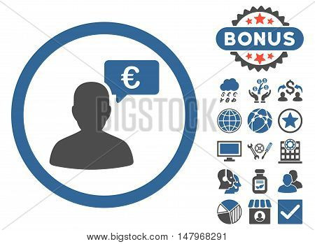 European Person Opinion icon with bonus symbols. Vector illustration style is flat iconic bicolor symbols, cobalt and gray colors, white background.