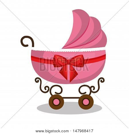 icon baby carriage pink design vector illustration eps 10