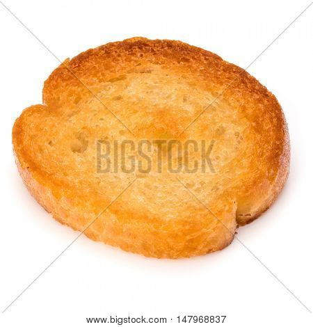 Crusty bread toast slice isolated on white background