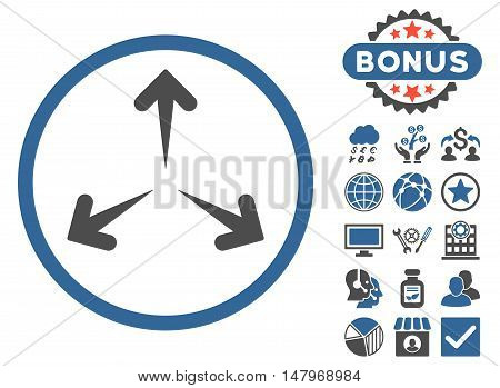 Expand Arrows icon with bonus pictures. Vector illustration style is flat iconic bicolor symbols, cobalt and gray colors, white background.