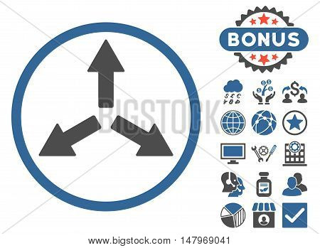 Expand Arrows icon with bonus images. Vector illustration style is flat iconic bicolor symbols, cobalt and gray colors, white background.