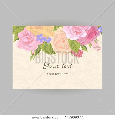 Romantic horizontal vintage greeting card holiday to wedding, birthday, valentines day, vector illustration, delicate flower wreath of roses, buds, leaves, on grunge background