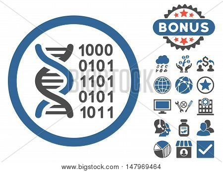 Genetical Code icon with bonus pictogram. Vector illustration style is flat iconic bicolor symbols, cobalt and gray colors, white background.