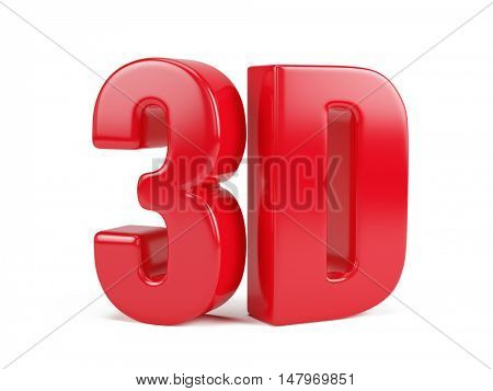 Red 3D logo isolated on white - 3d render