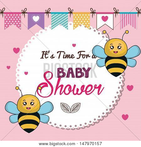 card baby shower bee twins desing vector illustration eps 10
