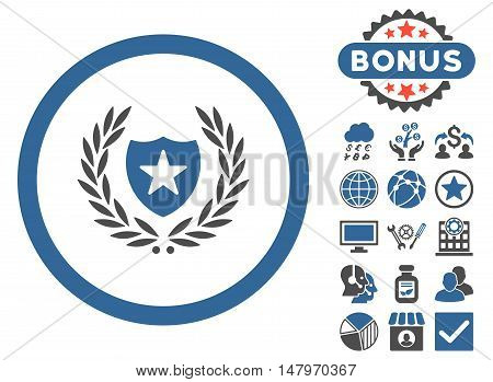 Glory Shield icon with bonus design elements. Vector illustration style is flat iconic bicolor symbols, cobalt and gray colors, white background.