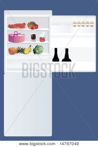 illustration with refrigerator and food