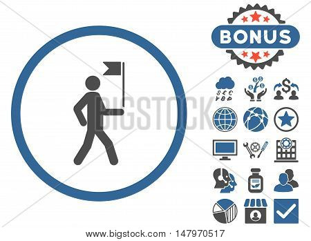 Guide icon with bonus images. Vector illustration style is flat iconic bicolor symbols, cobalt and gray colors, white background.