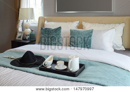 black tray of tea set in classic style bedroom at home