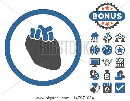 Heart Organ icon with bonus pictogram. Vector illustration style is flat iconic bicolor symbols, cobalt and gray colors, white background.
