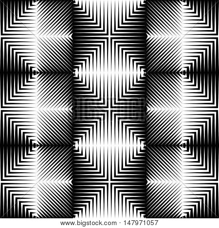 Seamless Stripe and Line Pattern. Vector Black and White Tech Texture