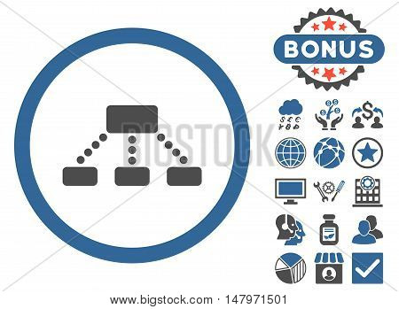 Hierarchy icon with bonus images. Vector illustration style is flat iconic bicolor symbols, cobalt and gray colors, white background.