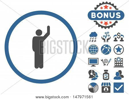 Hitchhike icon with bonus symbols. Vector illustration style is flat iconic bicolor symbols, cobalt and gray colors, white background.