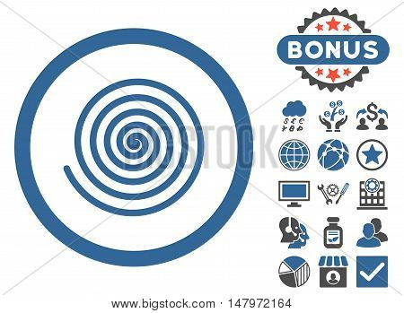 Hypnosis icon with bonus design elements. Vector illustration style is flat iconic bicolor symbols, cobalt and gray colors, white background.