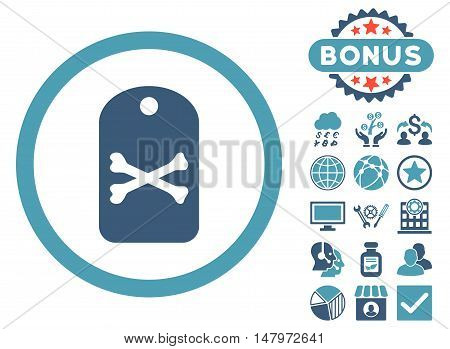 Death Tag icon with bonus pictures. Vector illustration style is flat iconic bicolor symbols, cyan and blue colors, white background.