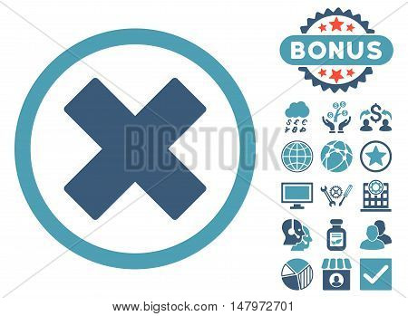 Delete X-Cross icon with bonus symbols. Vector illustration style is flat iconic bicolor symbols, cyan and blue colors, white background.