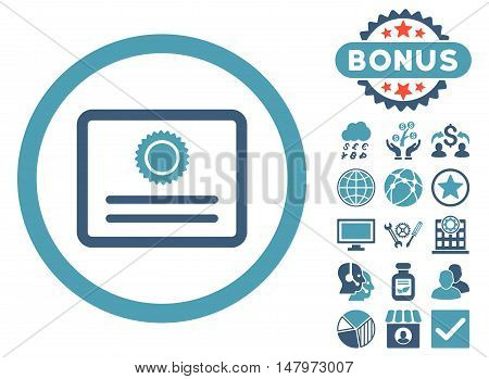 Diploma icon with bonus pictogram. Vector illustration style is flat iconic bicolor symbols, cyan and blue colors, white background.