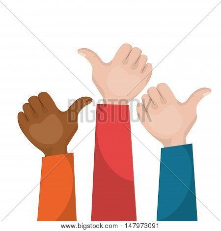 hand like multicultural teamwork vector illustration eps 10