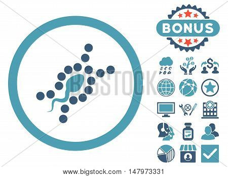DNA Replication icon with bonus elements. Vector illustration style is flat iconic bicolor symbols, cyan and blue colors, white background.