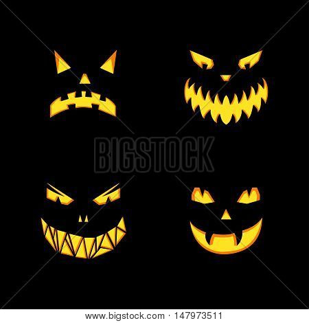 Vector set of monsters grin on black background