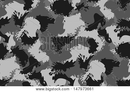 Abstract Military Gray Camouflage Background Made of Splash. Seamless Camo Grey Pattern for Army Clothing.