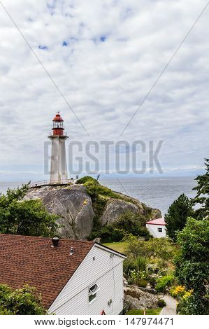 Photo of lighthouse on a cloudy day