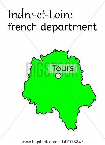 Indre-et-Loire french department map on white in vector
