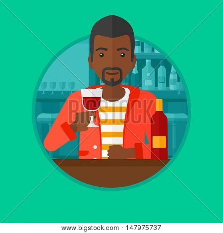 An african man sitting at the table with glass and bottle of wine. Man drinking wine at bar. Man enjoying a drink at wine bar. Vector flat design illustration in the circle isolated on background.