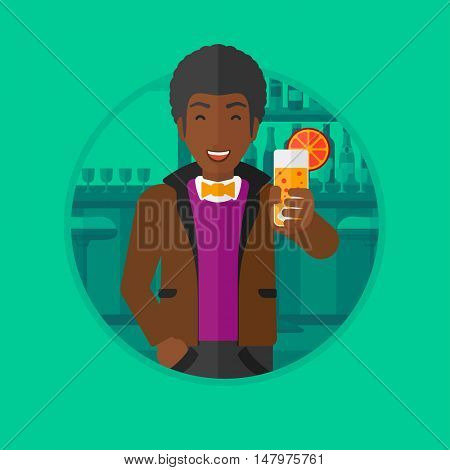 An african-american man holding an orange cocktail. Man drinking a cocktail at the bar. Man celebrating at bar with a cocktail. Vector flat design illustration in the circle isolated on background.