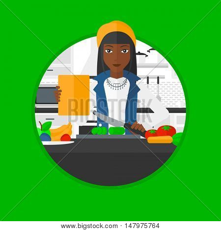 An african woman cutting vegetables for salad. Woman following recipe for salad on digital tablet. Woman cooking salad in kitchen. Vector flat design illustration in the circle isolated on background.