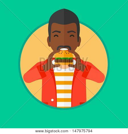 An african-american man eating hamburger. Man with eyes closed biting hamburger. Man is about to eat delicious hamburger. Vector flat design illustration in the circle isolated on background.